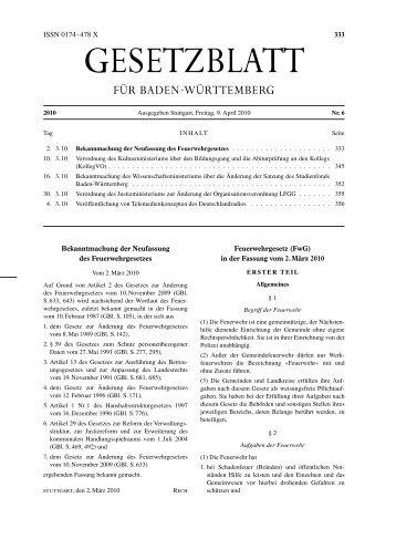 Feuerwehrgesetz - Feuerwehr Neubulach Abteilung Altbulach