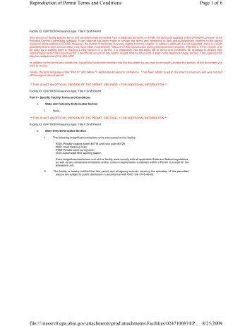 Page 1 of 6 Reproduction of Permit Terms and Conditions 8/25/2009 ...