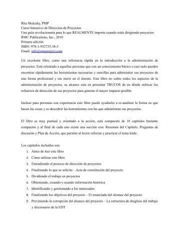 Rita Mulcahy, PMP Curso Intensivo de Direccion de Proyectos Una ...