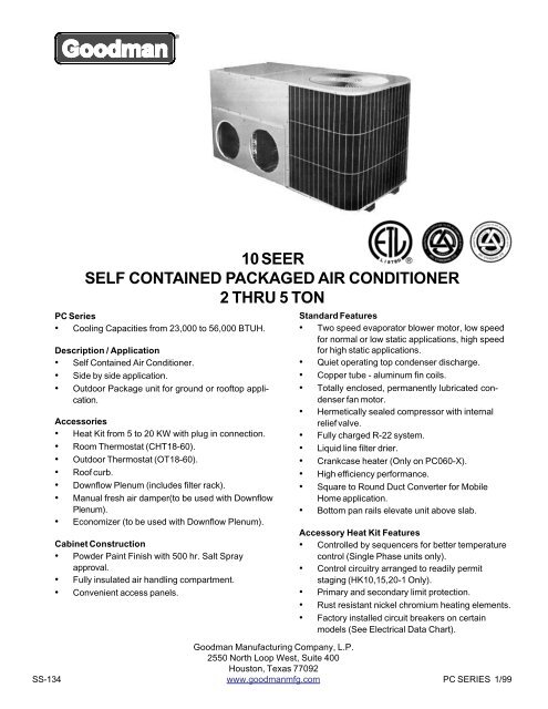 10 Seer Self Contained Packaged Air Conditioner 2 Thru 5 Ton