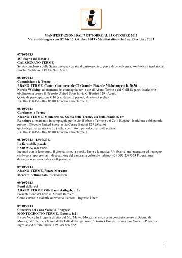 MANIFESTAZIONI DAL 5 14 AL OTTOBRE 2012 ... - Hotel Petrarca
