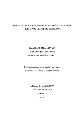 propuesta del diseño de un modelo estratégico de gestión humana