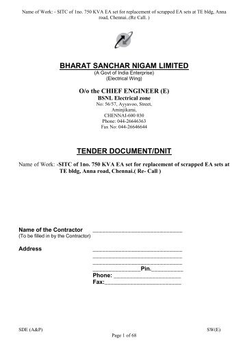 bharat sanchar nigam limited tender document/dnit - Chennai ...