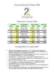 Pressemelding 26. oktober 2006 Regnskap 3. kvartal 2006 ... - TV2.no