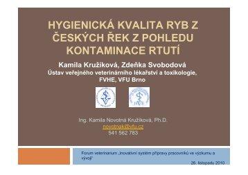 HYGIENICKÁ KVALITA RYB Z ČESKÝCH ŘEK Z POHLEDU KONTAMINACE RTUTÍ