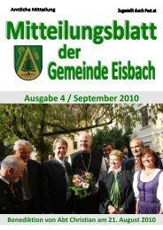 Mitteilungsblatt Ausgabe 4 ~ September 2010.pdf - Gemeinde Eisbach
