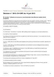 Cons. const. 14 juin 2013 - DALLOZ Etudiant
