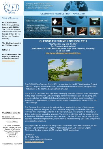 Newsletter April 2011 - OLED100.eu