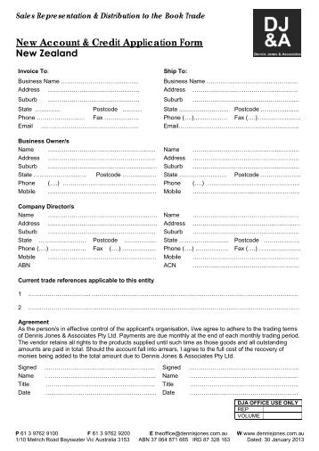 New Account & Credit Application Form New Zealand