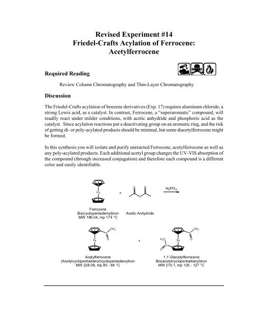 Revised Experiment #14 Friedel-Crafts Acylation Of Ferrocene