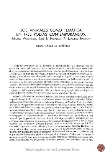 Los animales como temática en tres poetas contemporáneos