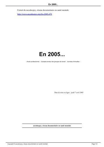 En 2005... - Ascodocpsy