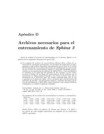 Archivos necesarios para Sphinx