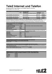 Preise Tele2 Internet und Telefon (PDF)