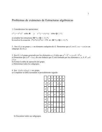 Problemas de examen sobre estructuras algebraicas.