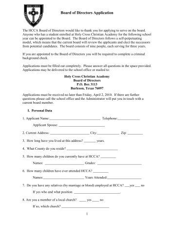 Board of Directors Application - Holy Cross Christian Academy