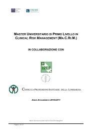 master universitario di primo livello in clinical risk management