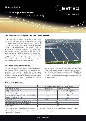 TCO for Photovoltaics brochure - Beneq