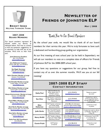 Thank You to Our Board Members - Johnston Community School ...