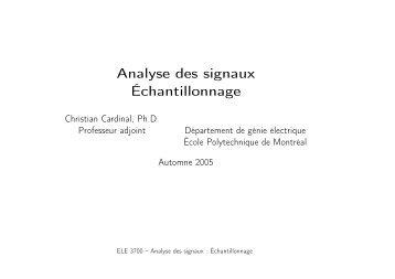 Échantillonnage - Cours - École Polytechnique de Montréal