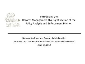 Records Management Self Assessment - National Archives and ...