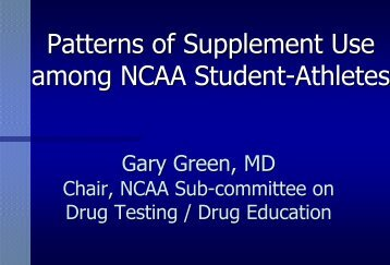 Patterns of Supplement Use 1-02