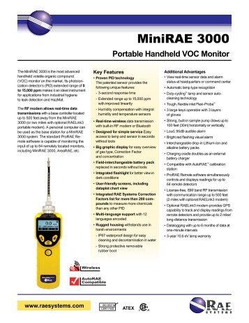 MiniRAE 3000 Data Sheet - RAE Systems