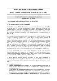 Note technique sur la formation agricole au Mali. - Agropolis ...