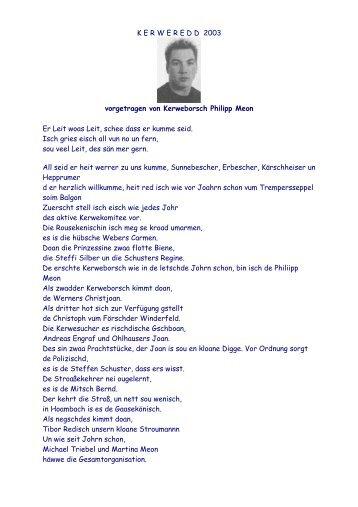 K E R W E R E D D  2003 vorgetragen von Kerweborsch Philipp Meon