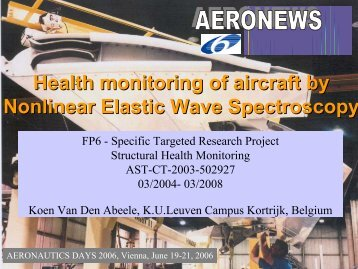 Health monitoring of aircraft by Nonlinear Elastic Wave Spectroscopy