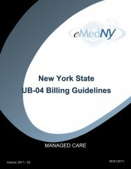 Managed Care Billing Guidelines UB04 Version 2011-1 - eMedNY