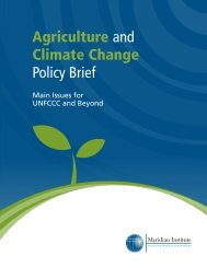 Agriculture and Climate Change Policy Brief: Main issues for the ...