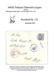 ARGE Feldpost Österreich-Ungarn Rundbrief Nr. 115