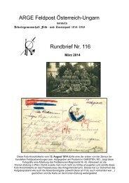 ARGE Feldpost Österreich-Ungarn Rundbrief Nr. 116