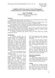 Antidiabetic effect of an aqueous extract of Pomegranate - Egyptian ...