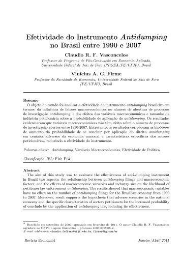 Efetividade do Instrumento Antidumping no Brasil entre ... - Anpec