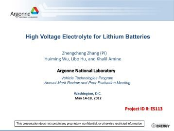 High Voltage Electrolyte for Lithium Batteries