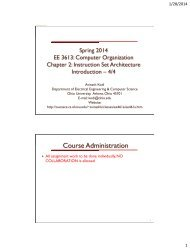 Instruction Set Architecture - Ace - Ohio University