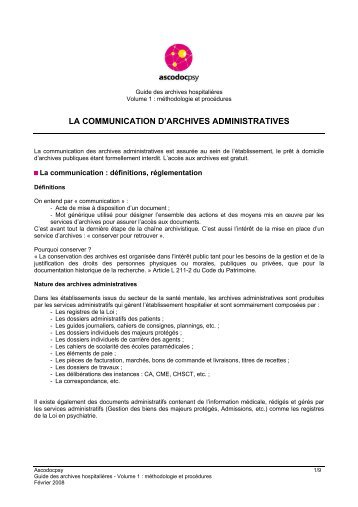 la communication d'archives administratives - Ascodocpsy