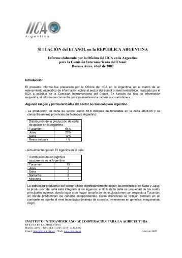 SITUACIÓN del ETANOL en la REPÚBLICA ARGENTINA - Instituto ...