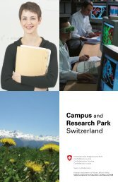 Campus and Research Park Switzerland - International Affairs