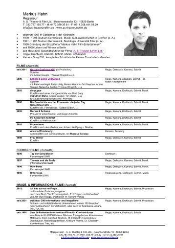 Markus Hahn - A. S. Theater & Film Ltd.