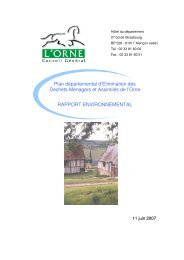 Rapport environnemental du PEDMA - Conseil Général de l'Orne