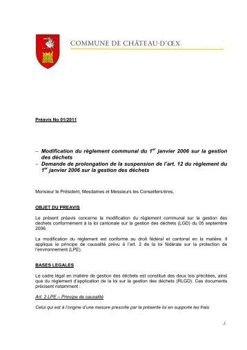 Préavis 01-2011 - Modification du règlement ... - Château-d'Oex