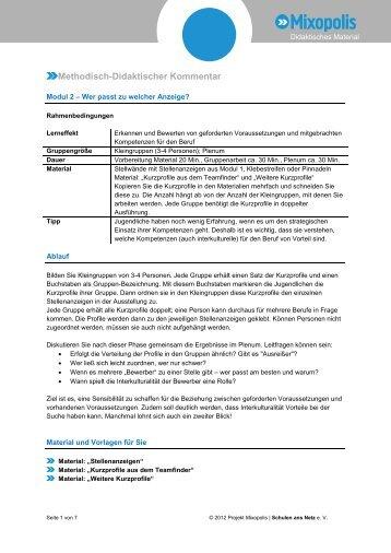 PDF: Thema Stellenanzeige - Modul 2 - Mixopolis