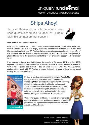 Rundle Mall SA Retailers Memo Cruise Ships - 4 Nov 2012