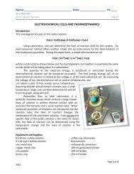 Electrochemistry PreLab for THURS 4/4