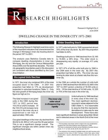 Dwelling Change in the Inner City 1971-2001 - University of Winnipeg