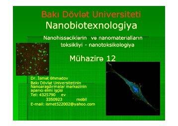 Mühazirə 12 - Bakı Dövlət Universiteti