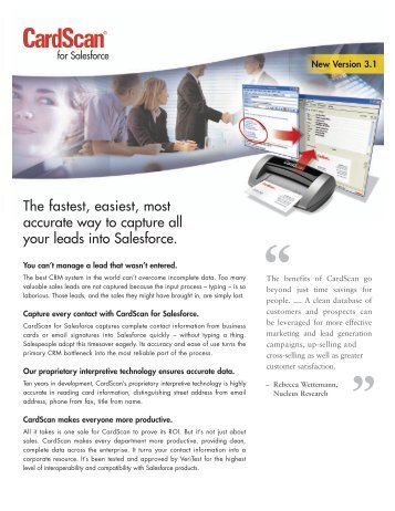 The fastest, easiest, most accurate way to capture all ... - CardScan
